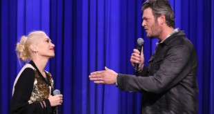 THE TONIGHT SHOW STARRING JIMMY FALLON -- Episode 0126 -- Pictured: (l-r) Singer Gwen Stefani and singer Blake Shelton during a lip synch battle on September 17, 2014 -- (Photo by: Douglas Gorenstein/NBC/NBCU Photo Bank)